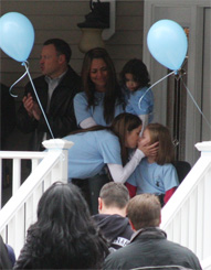 Bella Tucker Gets a Kiss From Her Mom Selena Roarty at Her Homecoming Block Party